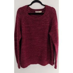 Faded Glory Knit Red Sweater Scoop Neck XL